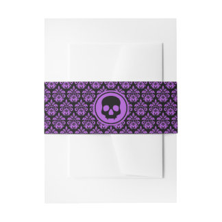 Pretty Halloween damask | black and purple Invitation Belly Band