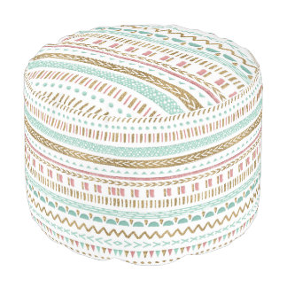 Pretty hand paint tribal Aztec geometric design Pouf