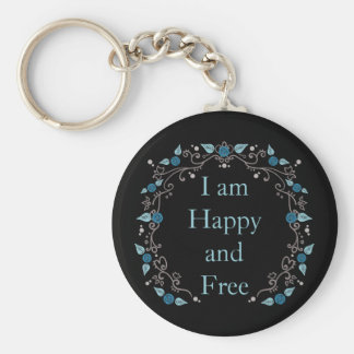 Pretty happy and free affirmation basic round button key ring