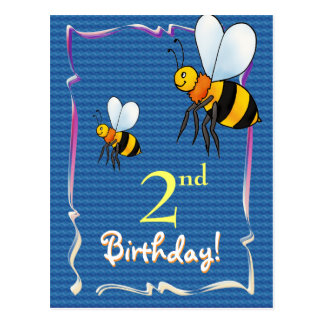 Pretty Happy Birthday postcard with bee
