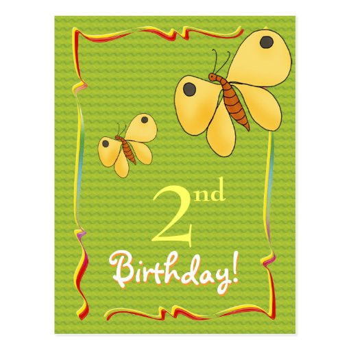 Pretty Happy Birthday postcard with butterflies