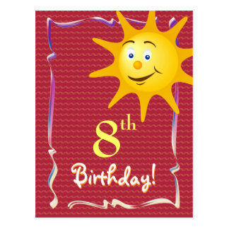 Pretty Happy Birthday postcard with cute sun