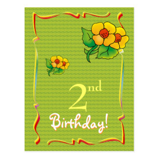 Pretty Happy Birthday postcard with wflowers
