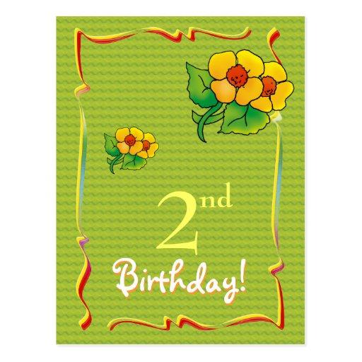 Pretty Happy Birthday postcard with wflowers