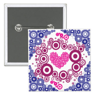 Pretty Heart Concentric Circles Girly Teen Design Pinback Buttons