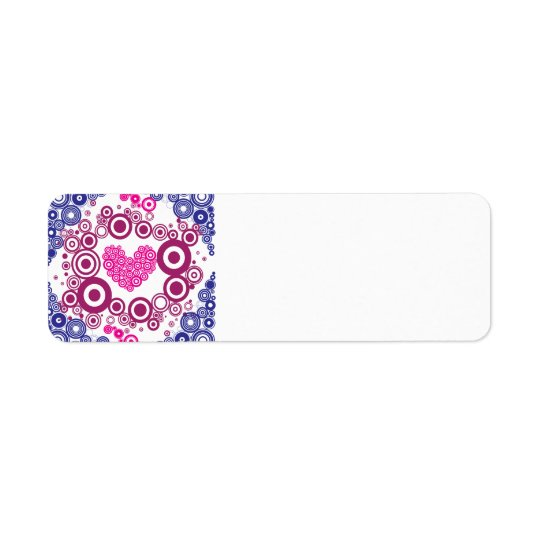 Pretty Heart Concentric Circles Girly Teen Design Return Address Label