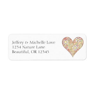 Pretty Heart Filled with Flowers Address Return Address Label