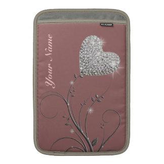 pretty heart jewel flower MacBook sleeve