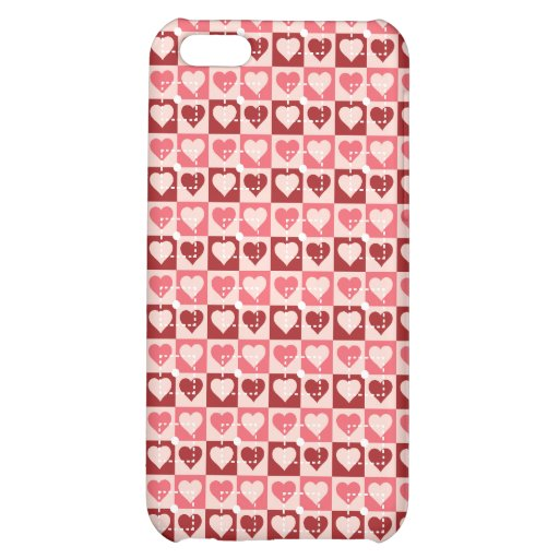 Pretty Hearts in Squares Valentine's Day Gifts iPhone 5C Cases
