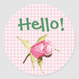 Pretty  Hello Pink Gingham and Roses Stickers