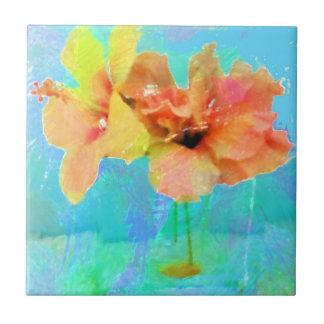 Pretty Hibiscus Flowers Ceramic Tile