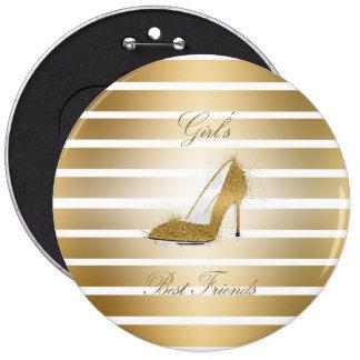 """Pretty High heels shoe """"Girls best Friends"""" 6 Cm Round Badge"""