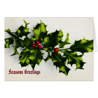 Pretty Holly Christmas Card