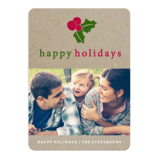 Pretty Holly Kraft Holiday Photo Card 13 Cm X 18 Cm Invitation Card
