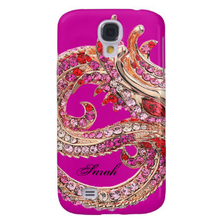 Pretty Hot Pink Bejeweled Galaxy S4 Cover
