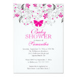 Pretty Hot Pink Butterfly Baby Girl Baby Shower Personalised Invites