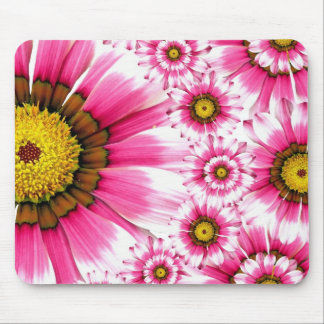 Pretty Hot Pink Fuchsia Flower Kaleidoscope Design Mouse Pad
