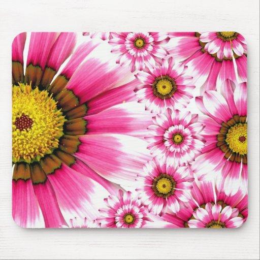 Pretty Hot Pink Fuchsia Flower Kaleidoscope Design Mousepad