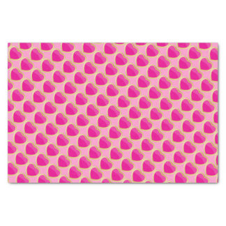 "Pretty Hot Pink Hearts with Gold Trim 10"" X 15"" Tissue Paper"