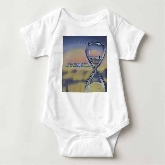 Pretty Hourglass Beachscape Making Memories Quote Baby Bodysuit