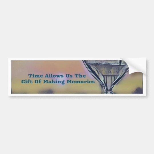 Pretty Hourglass Beachscape Making Memories Quote Bumper Sticker