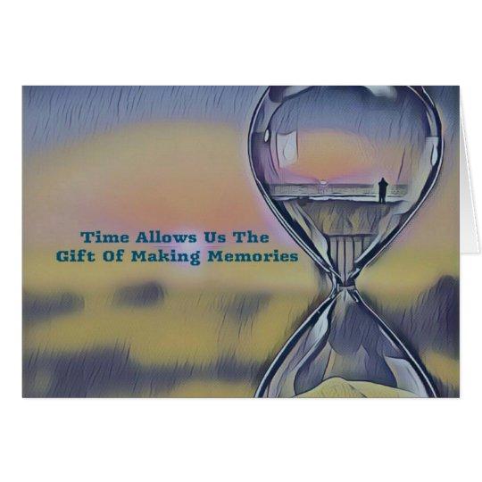 Pretty Hourglass Beachscape Making Memories Quote Card