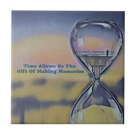 Pretty Hourglass Beachscape Making Memories Quote Ceramic Tile