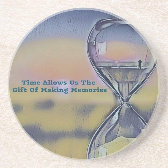 Pretty Hourglass Beachscape Making Memories Quote Coaster