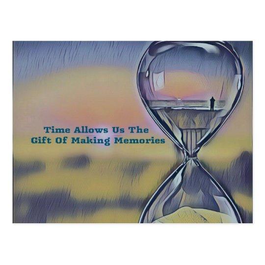 Pretty Hourglass Beachscape Making Memories Quote Postcard
