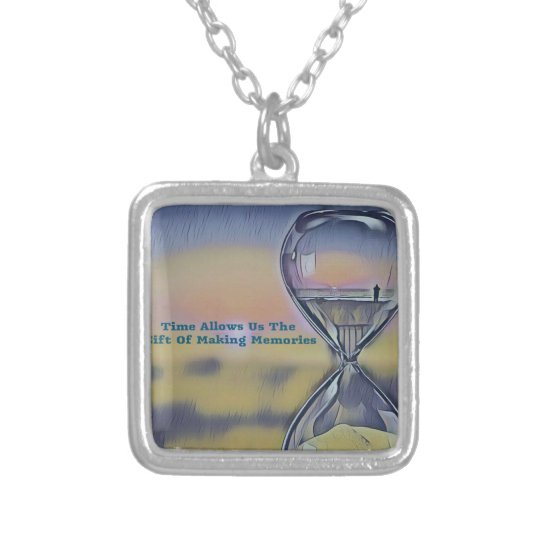 Pretty Hourglass Beachscape Making Memories Quote Silver Plated Necklace