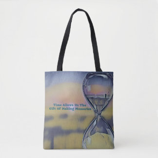 Pretty Hourglass Beachscape Making Memories Quote Tote Bag