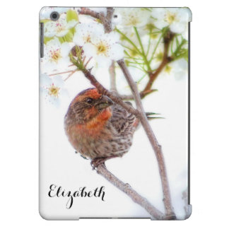 Pretty House Finch Bird in White Cherry Blossoms Cover For iPad Air