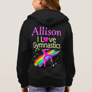 PRETTY I LOVE GYMNASTICS PERSONALIZED HOODIE