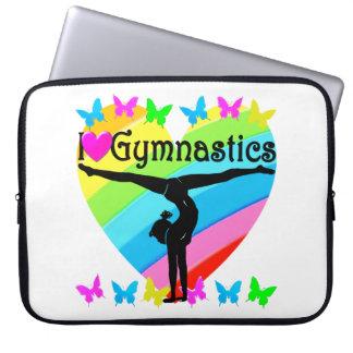 PRETTY I LOVE GYMNASTICS RAINBOW DESIGN LAPTOP COMPUTER SLEEVES