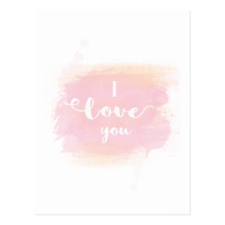 Pretty I love you pink watercolor calligraphy Postcard