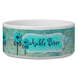 Pretty in Blue CUSTOM Name Pet Water Bowls