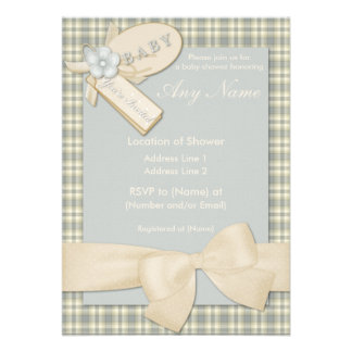 Pretty in Green and Yellow Baby Shower Invitations