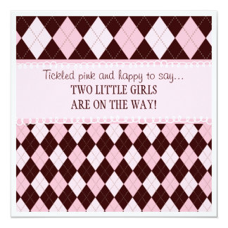 Pretty in Pink Argyle Twin Girl Baby Shower Card