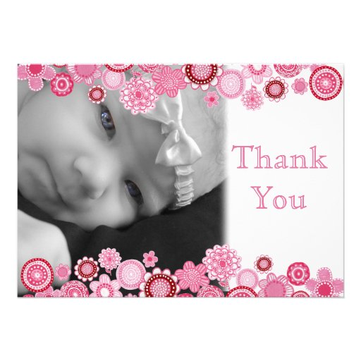Pretty in Pink Baby Girl Photo Thank You Card Custom Invites