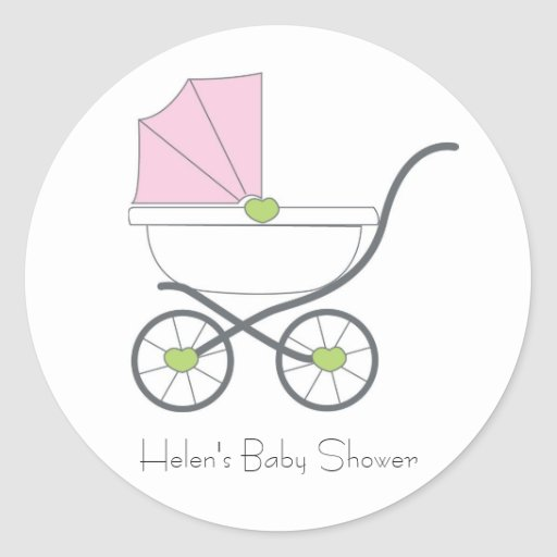 Pretty in pink baby shower favor stickers
