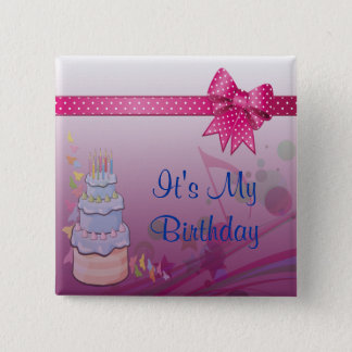 Pretty In Pink Bday Set 15 Cm Square Badge