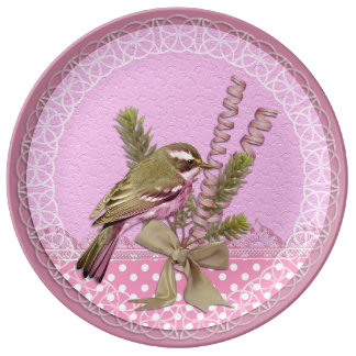 Pretty in Pink Bird Decorative Plate Porcelain Plate