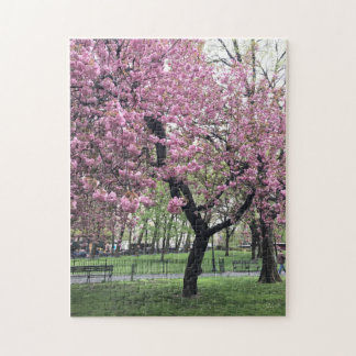 Pretty in Pink Cherry Blossom Tree NYC New York Jigsaw Puzzle