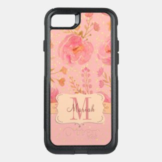 Pretty In Pink Floral Confetti Pattern Monogram OtterBox Commuter iPhone 7 Case