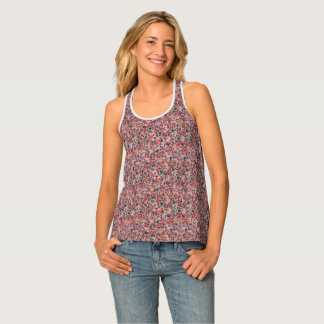 PRETTY IN PINK FLORAL DESIGN SLEEVELESS TOP/SHIRT SINGLET