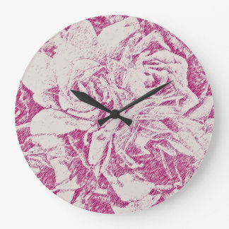Pretty in Pink Floral Large Clock