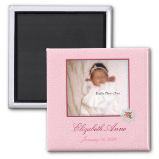Pretty In Pink Girly Photo Birth Announcement Square Magnet