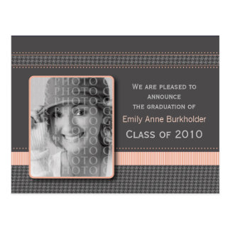 Pretty in Pink Graduation Announcement Postcard