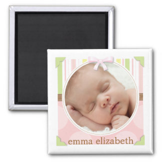 Pretty in Pink & Green Stripes + Dots Birth Photo Square Magnet