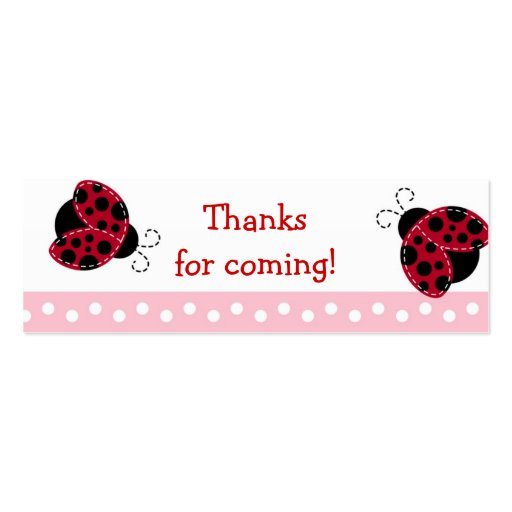 Pretty in Pink Ladybug Baby Shower Favor Gift Tags Business Card